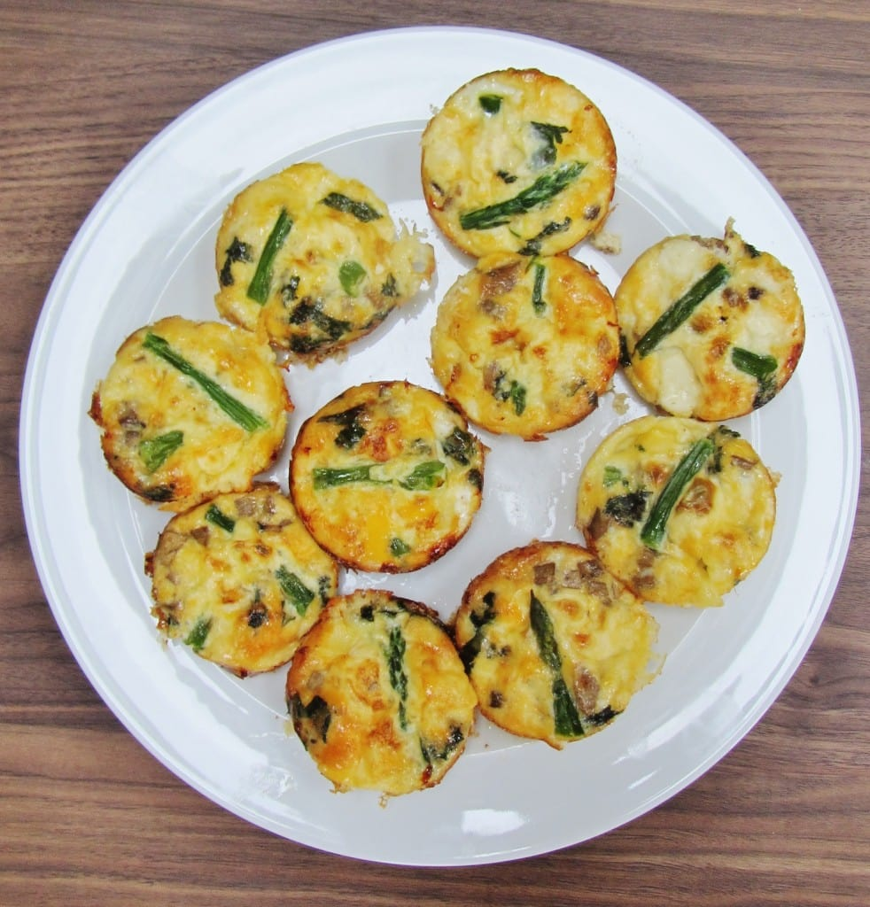 mini frittatas filled with mushrooms, asparagus and goats cheese