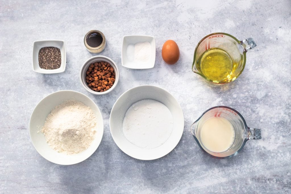 Ingredients for chocolate chip chia seed muffins