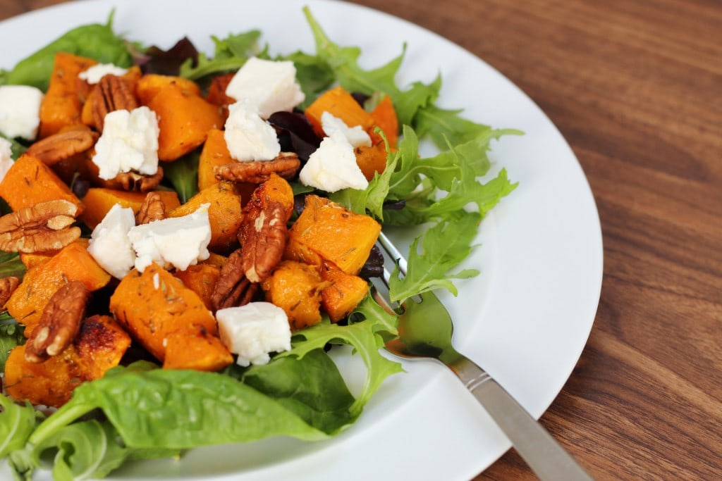 Roasted Butternut Squash Pecan and Feta Salad