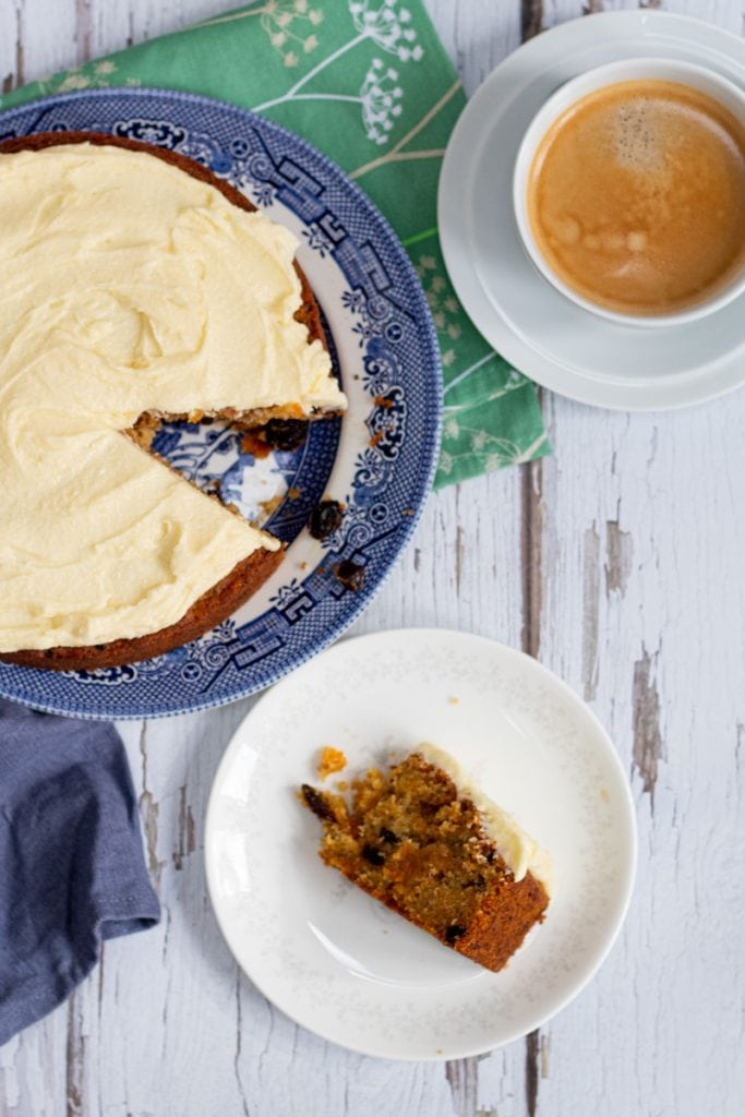 Flatlay of vegan carrot cake and coffee