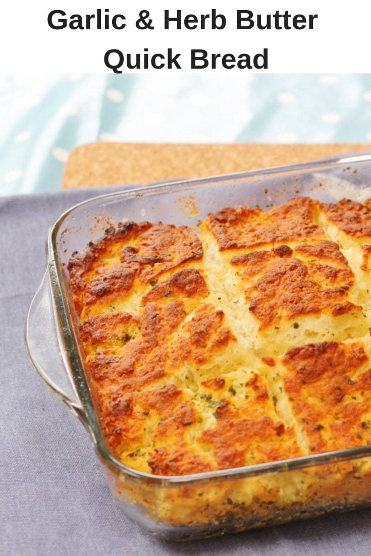 Garlic and herb butter quick bread pin image