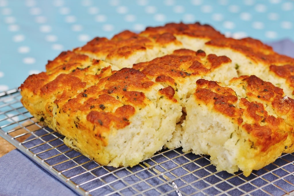 Garlic and Herb Butter Quick Bread on a cooling rack