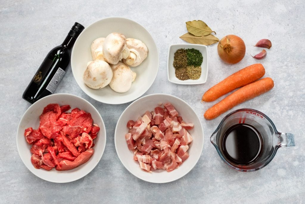 Ingredients for slow cooker beef bourguignon