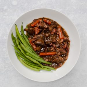 bowl of slow cooker beef bourguignon