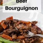 Slow cooker beef bourguignon pin image