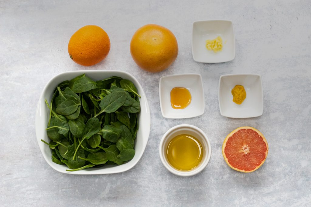 Ingredients for spinach citrus salad