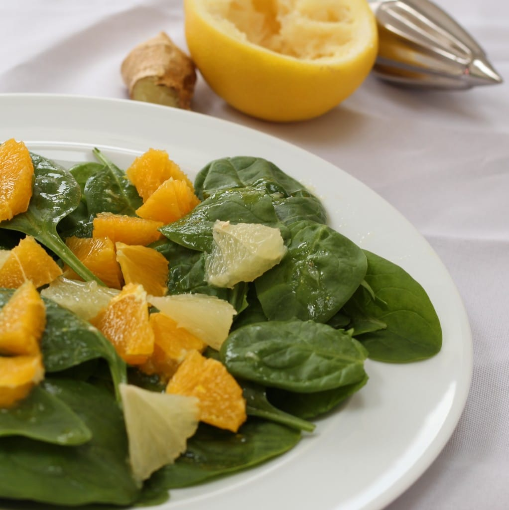 spinach citrus salad with fresh fruit