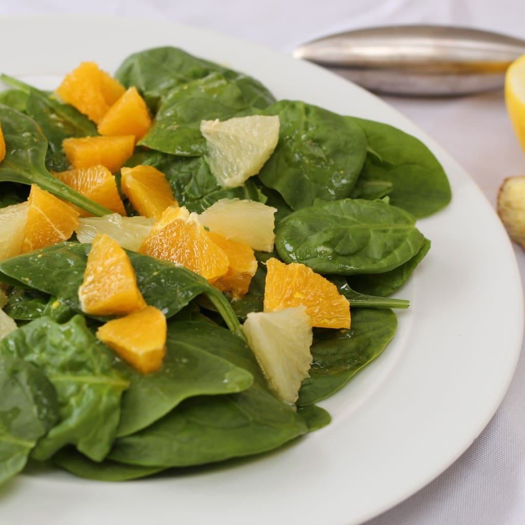 spinach citrus salad with orange and grapefruit