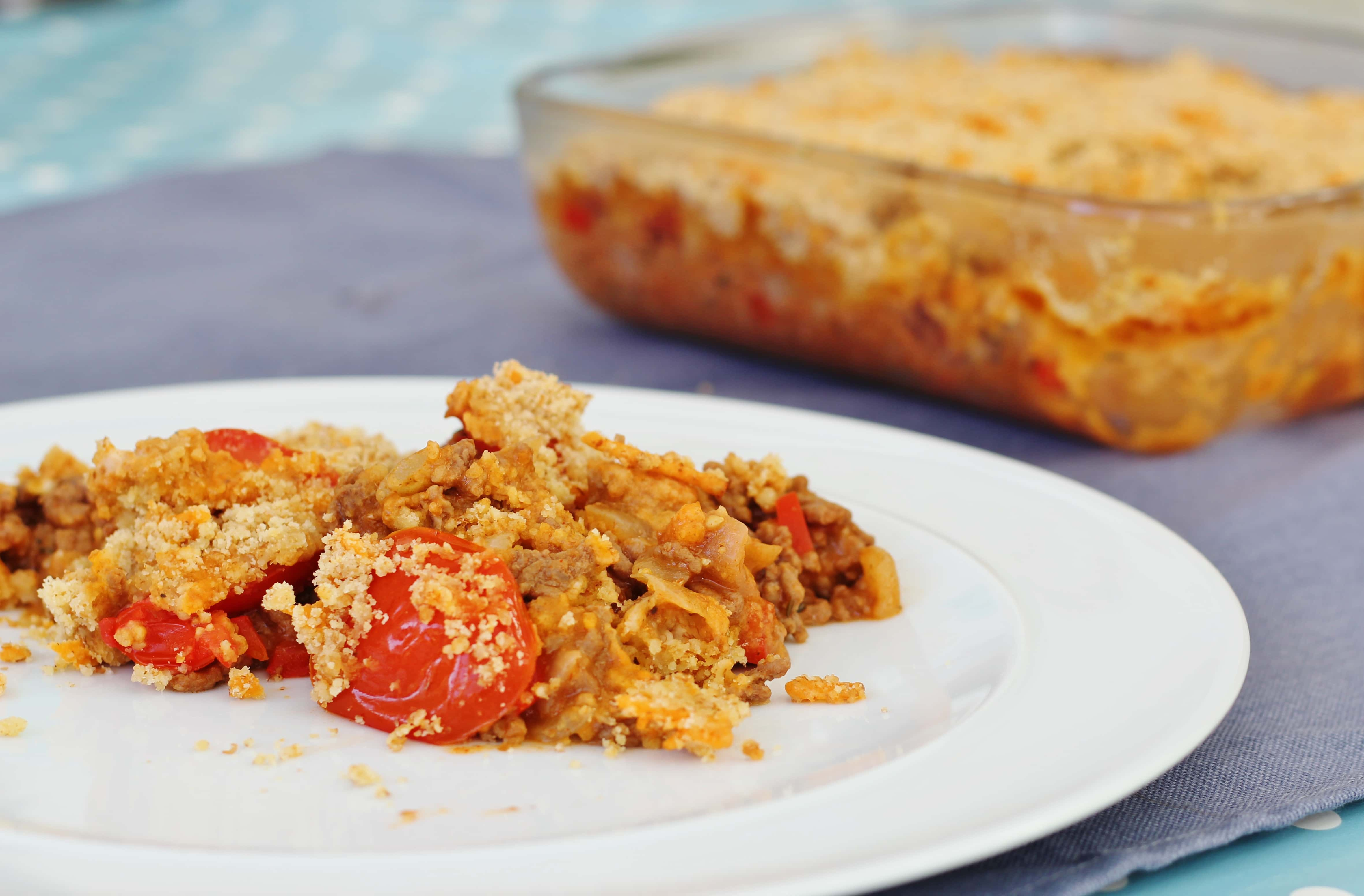 Savoury Mince and Tomato Crumble