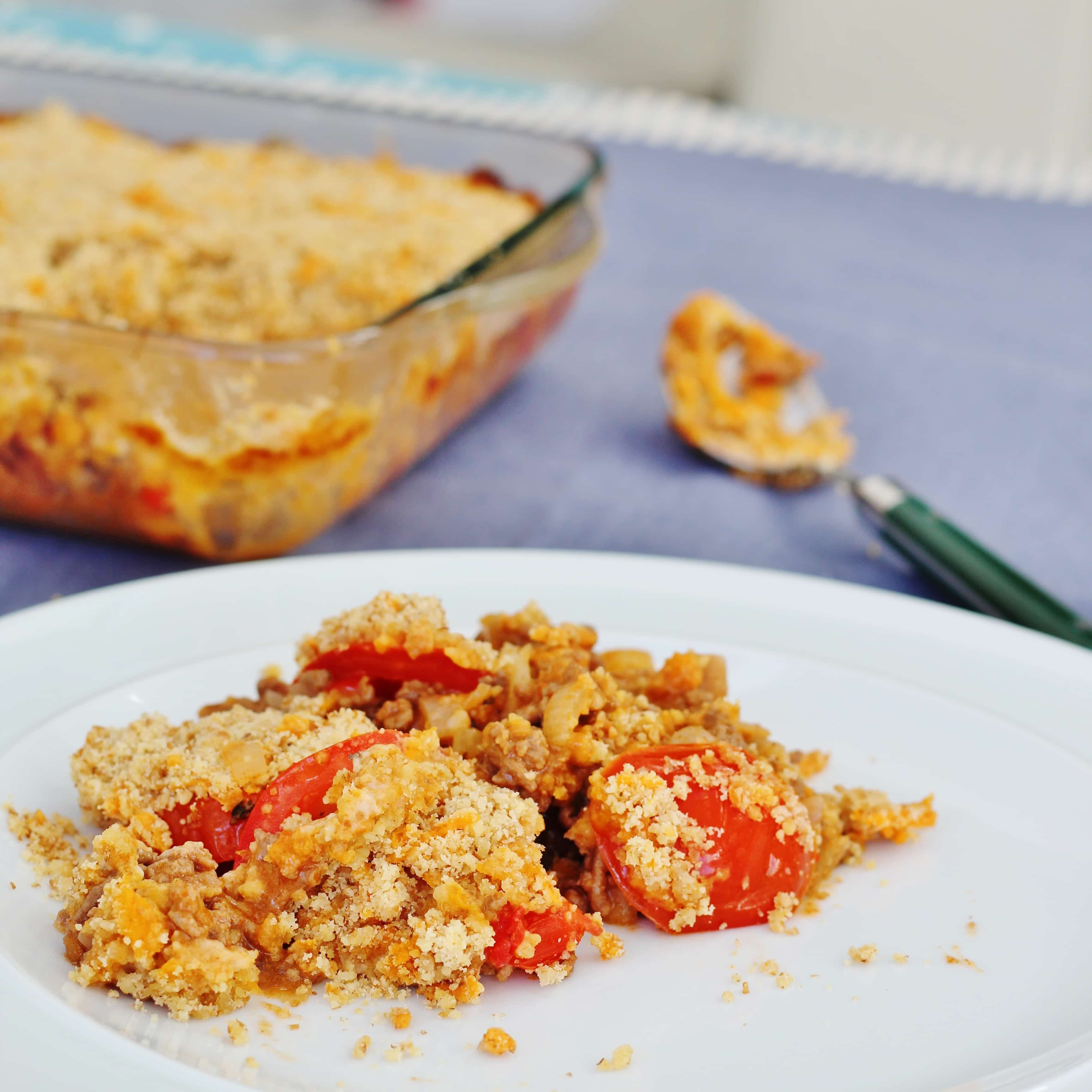 Mince and Tomato Crumble on a plate