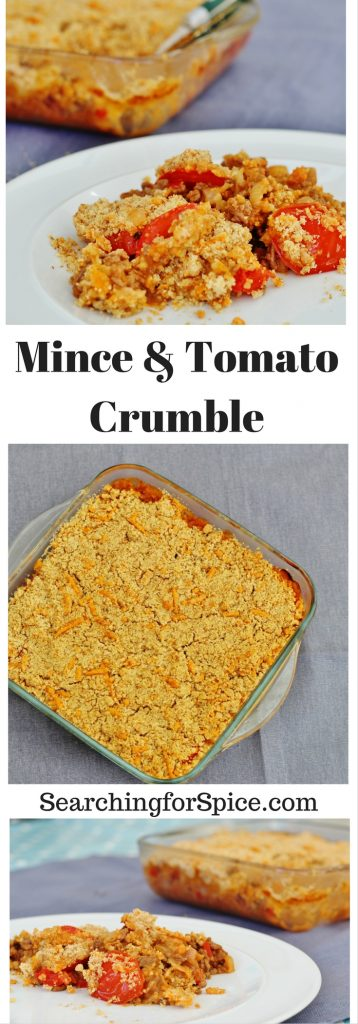 Mince and Tomato Crumble. This tasty dish of minced beef topped with tomatoes and a savoury cheesy crumble is a delicious easy meal that kids and adults will love #mincedbeef #groundbeef #onepotmeal #cookonceeattwice #makeaheadmeals #familyfood #familyfriendlymeals #fromscratch #everydayrecipes #savoury #bakes #batchcooking