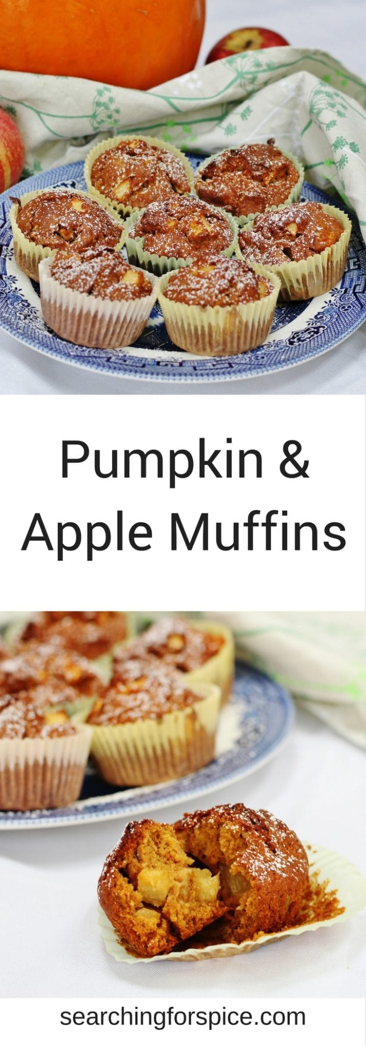 Make these pumpkin and apple muffins with seasonal apples and pumpkin puree. They make a great after-school snack or even breakfast #muffins #apple #pumpkinrecipes #baking #seasonal