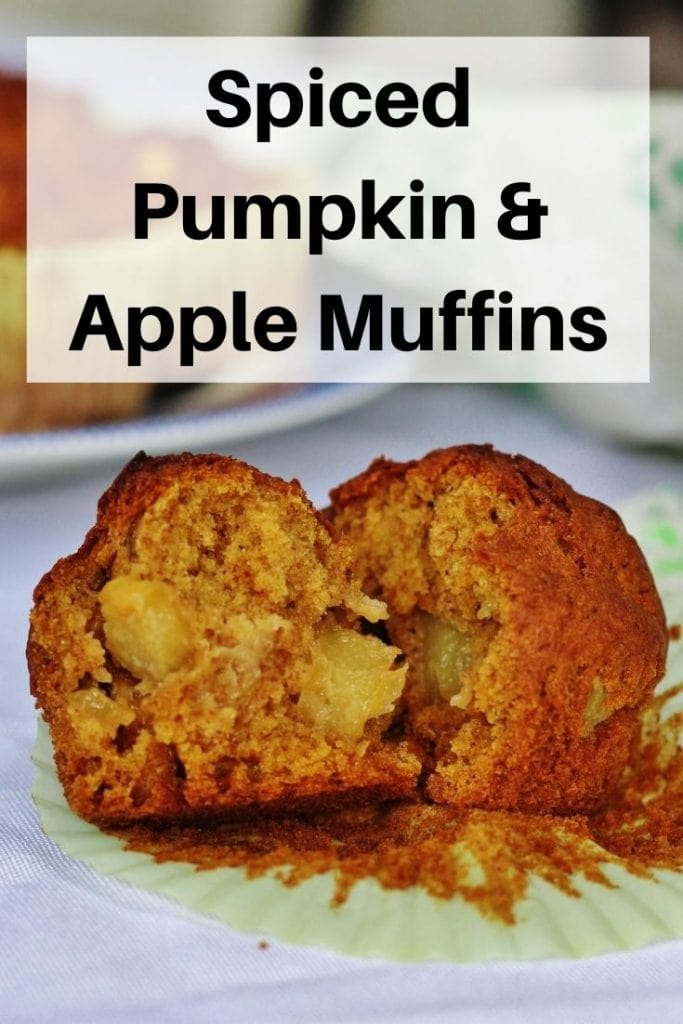pin image of pumpkin apple muffins