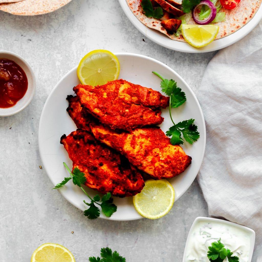 Plate of chicken tikka