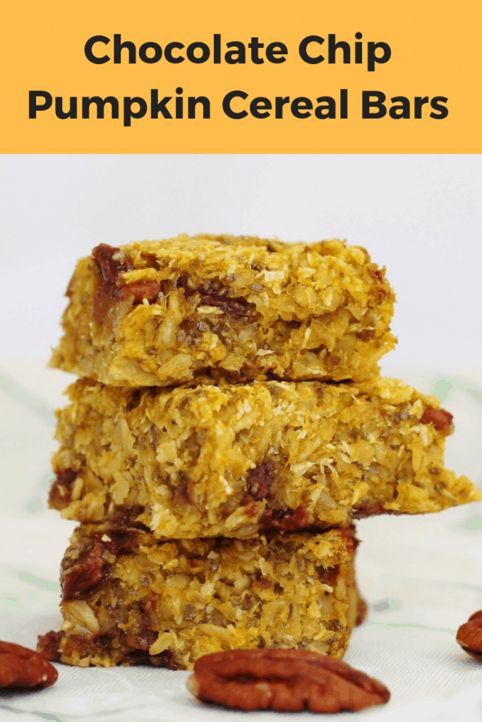 Chocolate chip pumpkin cereal bars pin image