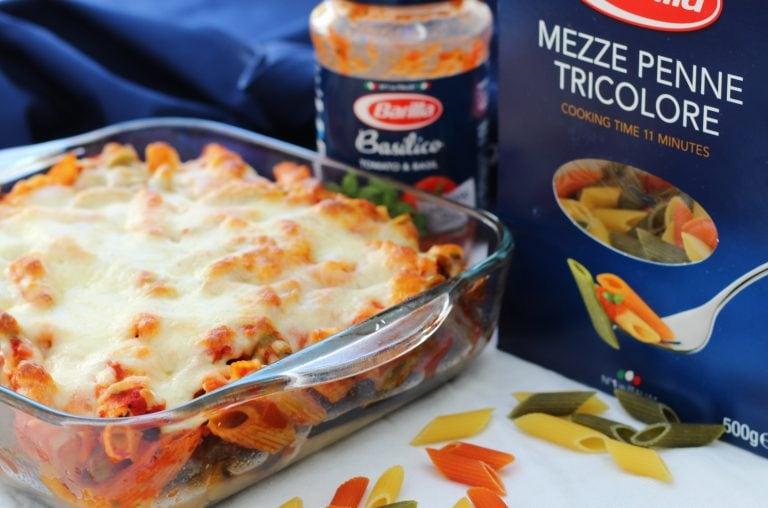 Three easy pasta recipes with Barilla - Cheesy roasted vegetable pasta bake