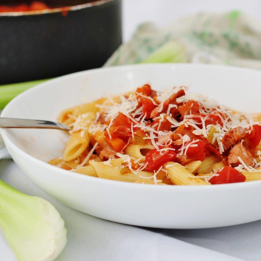 turkey ragu on pasta