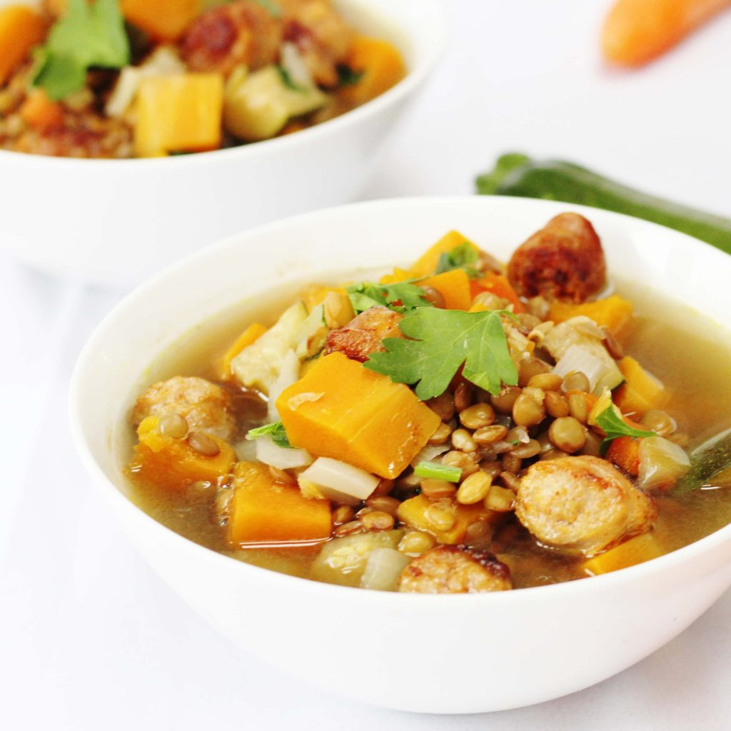 Lentil Sausage and Vegetable Soup