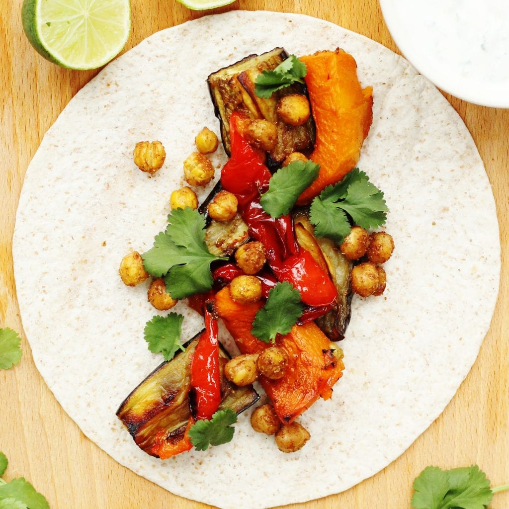 Spiced chickpea tacos with roasted vegetables