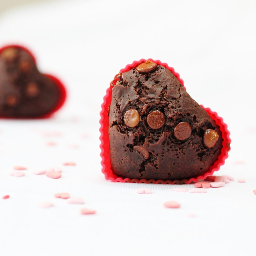 egg-free chocolate muffin on its side