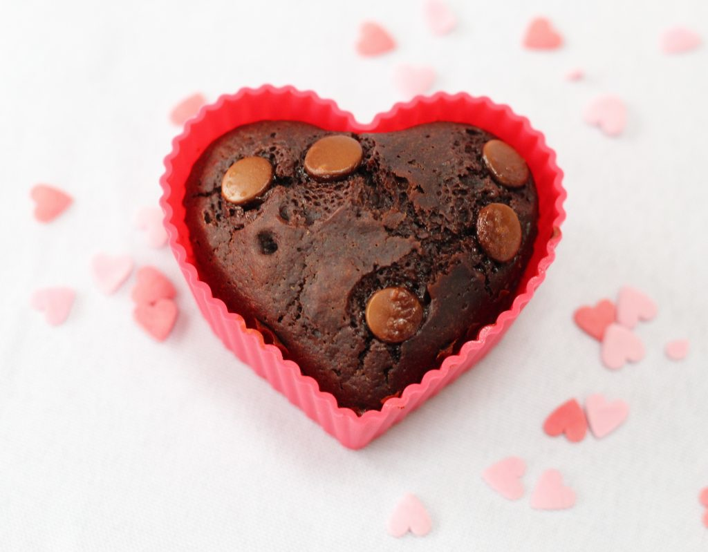 One heart shaped egg-free chocolate muffin