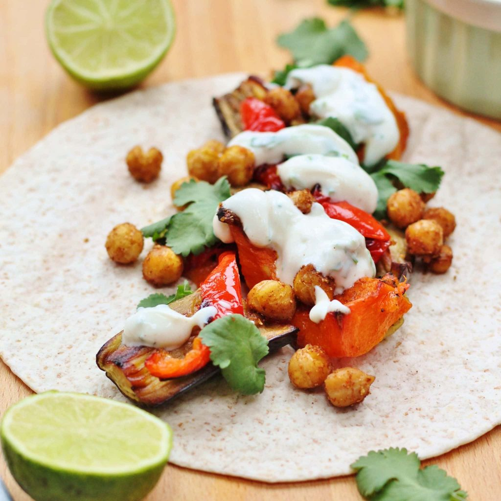 Spiced chickpea tacos with a yogurt dressing