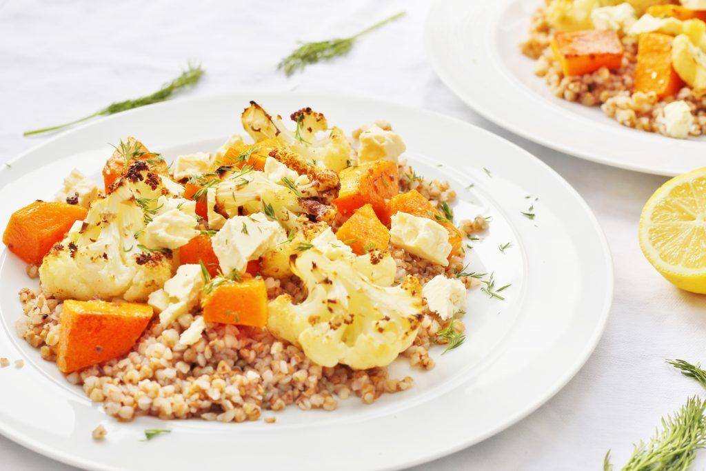 Vegetarian Buckwheat Salad with Roasted Vegetables