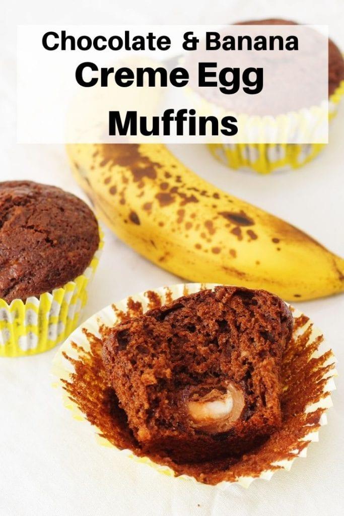 Pin image chocolate and banana creme egg muffins