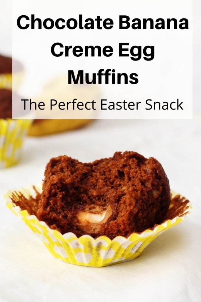chocolate banana creme egg muffins pin image