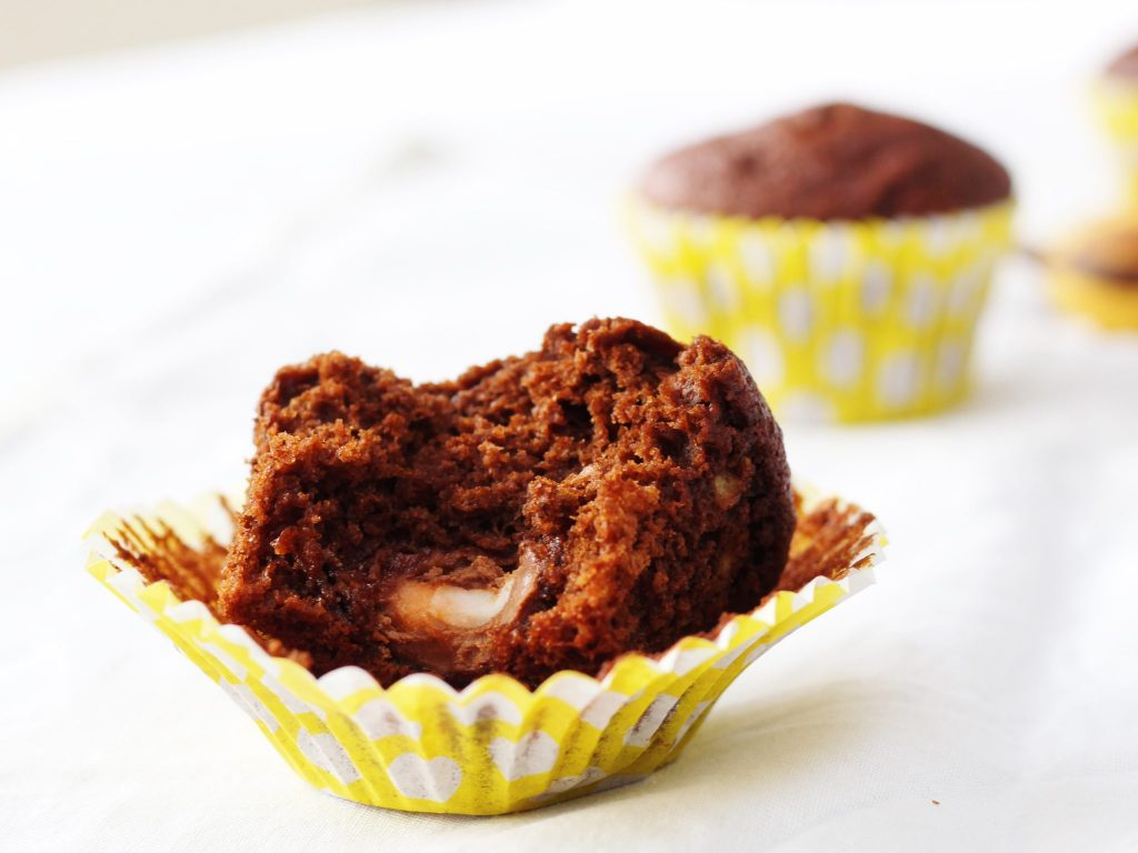 Chocolate and banana creme egg surprise muffins
