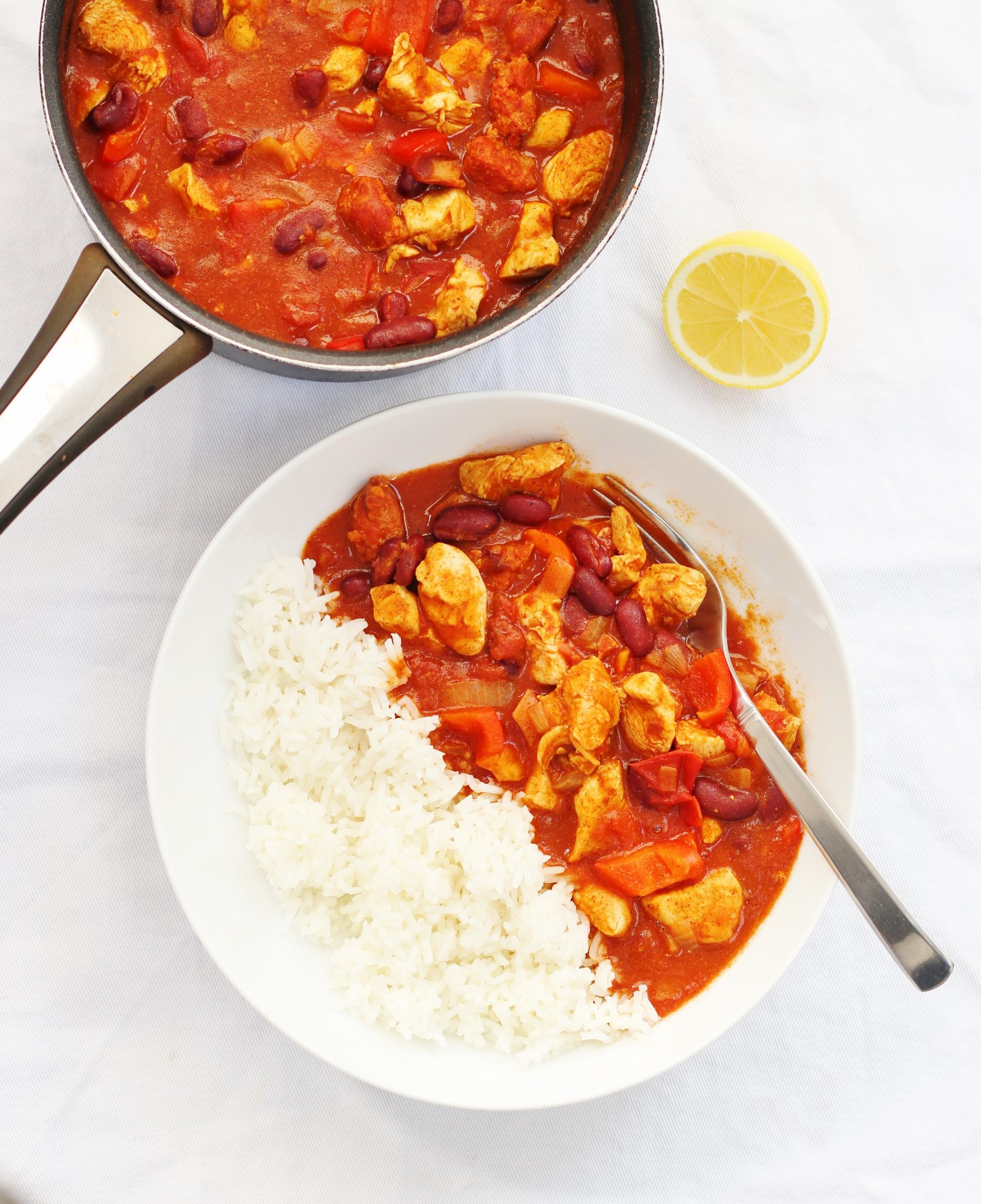 pan and bowl of gluten free chicken chilli