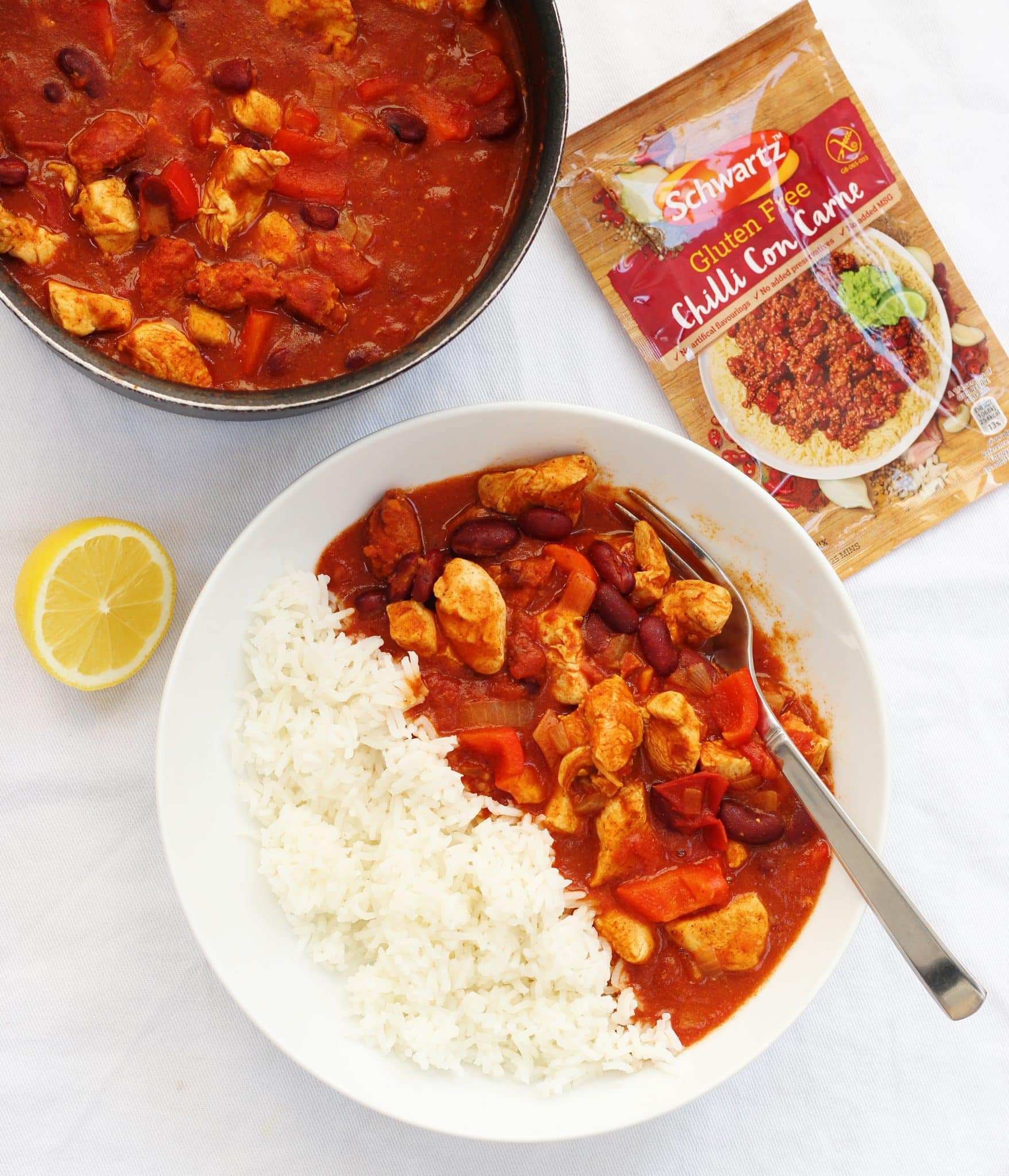 bowl of chicken chilli with a fork