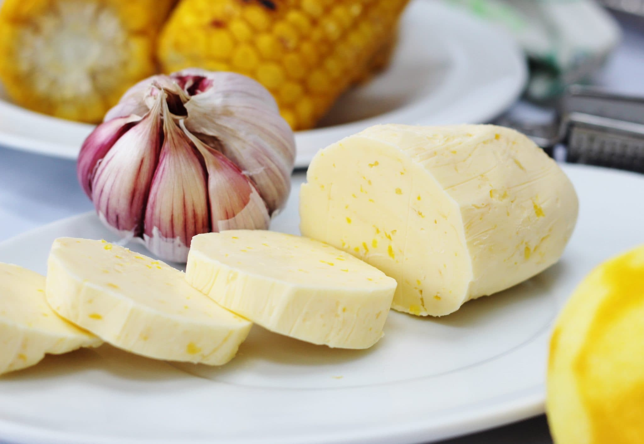 Recipe for homemade lemon garlic butter is delicious on barbecued vegetables, corn on the cob, fish or chicken.