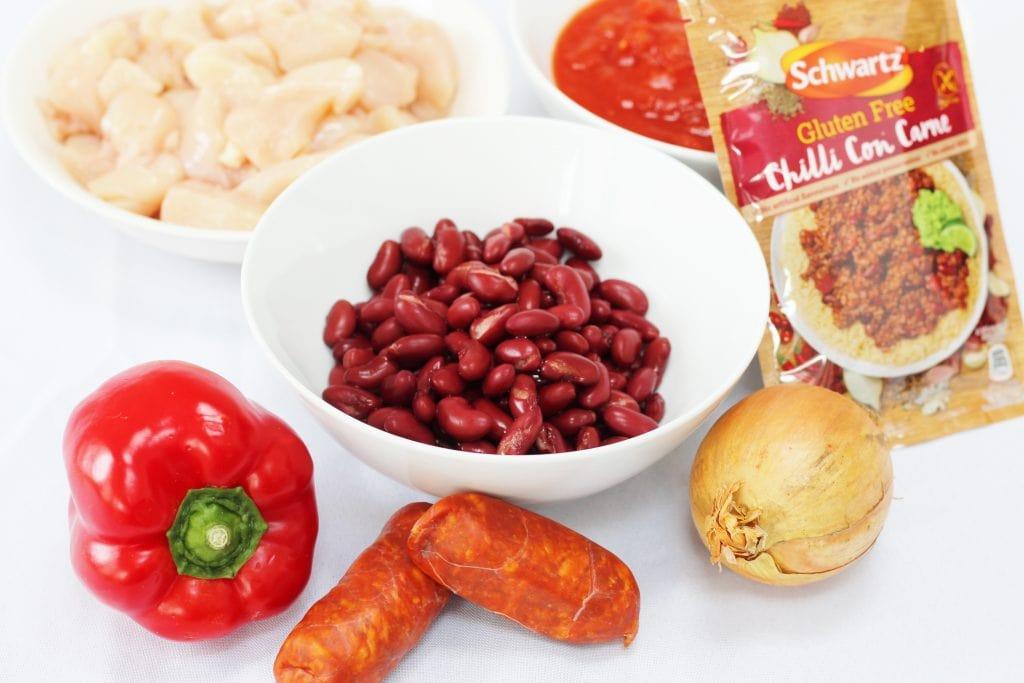 Ingredients for Schwartz gluten free chilli chicken with chorizo
