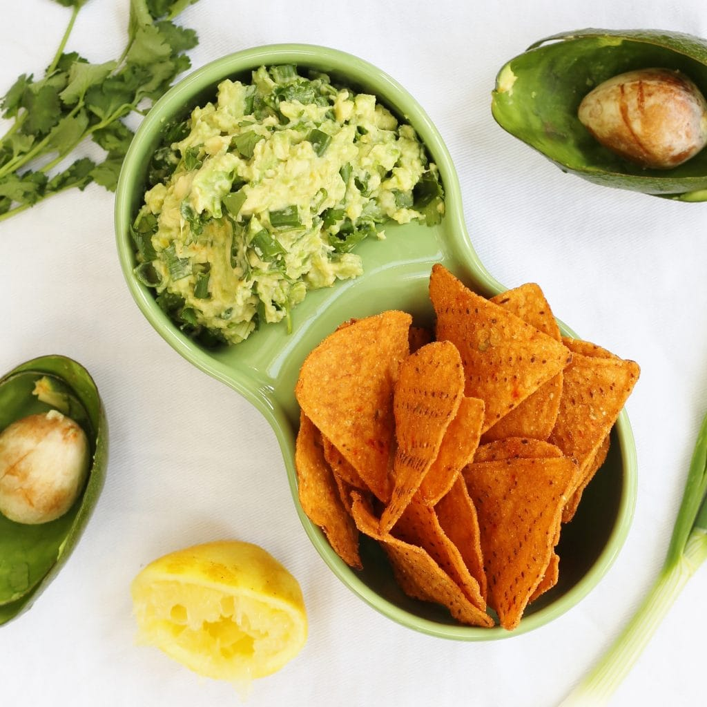 zesty lemon and herb guacamole from above