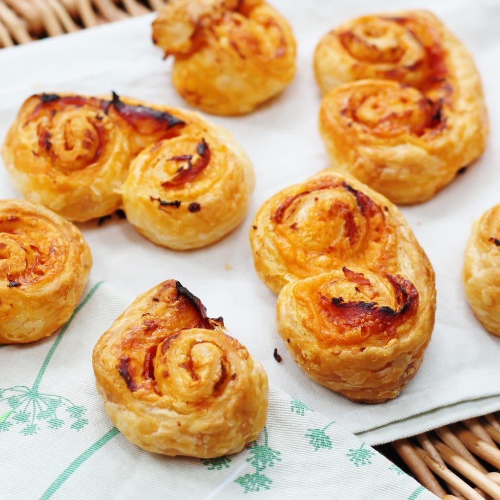 Close up of cheesy chorizo pastries