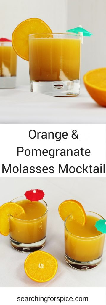Recipe for orange and pomegranate molasses mocktail. This cool refreshing drink is so easy to make and perfect for drinking outside in the sun. A great summer drink for adults and kids.
