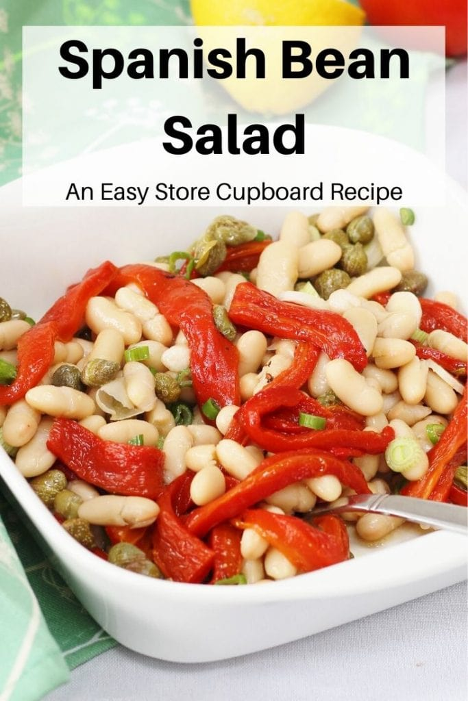 Spanish bean salad pin image