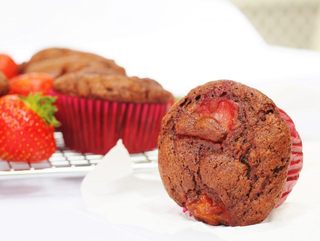 Strawberry chocolate banana muffins
