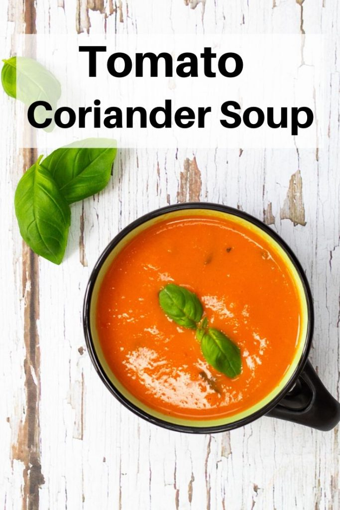 Tomato and coriander soup pin image