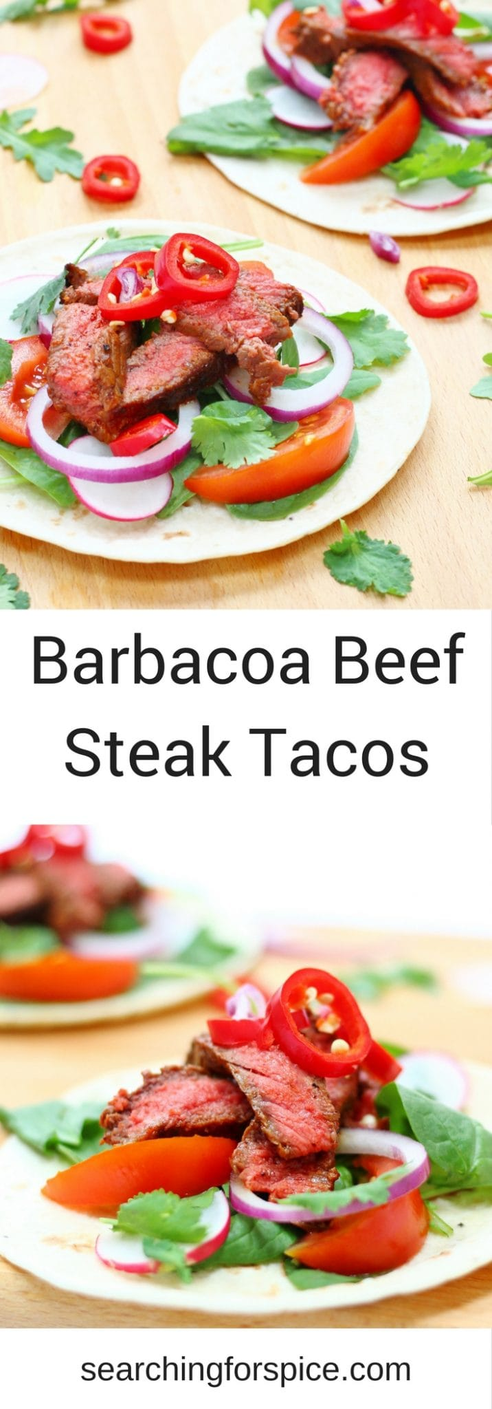 These barbacoa beef steak tacos make a delicious light healthy summer meal. Cook the steak on the bbq or inside and let everyone help themselves to the taco fillings and toppings. They make a tasty easy family meal.