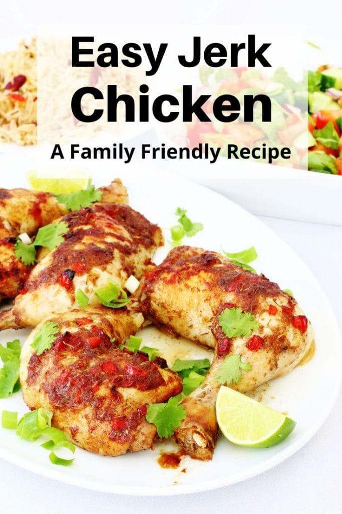 Easy jerk chicken recipe pin image