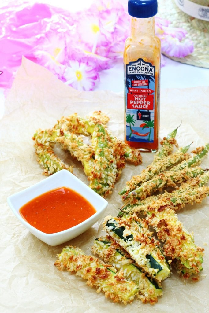 Vegetable fries for Caribbean Food Week. Avocado, green bean and zucchini fries