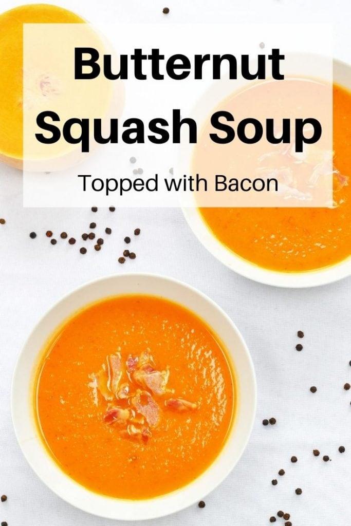 butternut squash bacon soup pin image