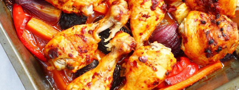 Harissa chicken traybake. An easy one pot meal that's perfect for midweek