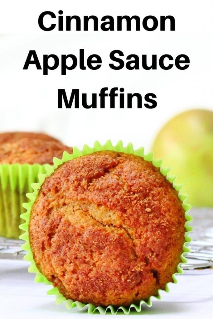 Cinnamon apple sauce muffins pin image