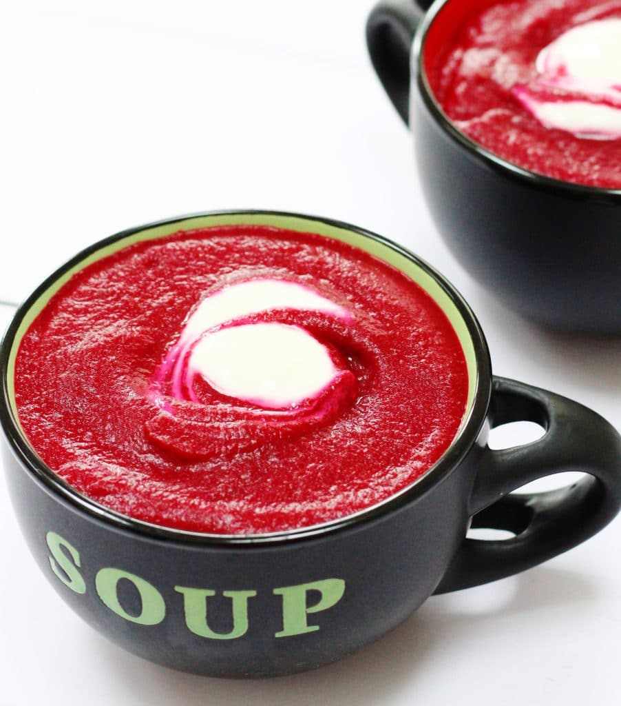 Roasted garlic and beetroot soup