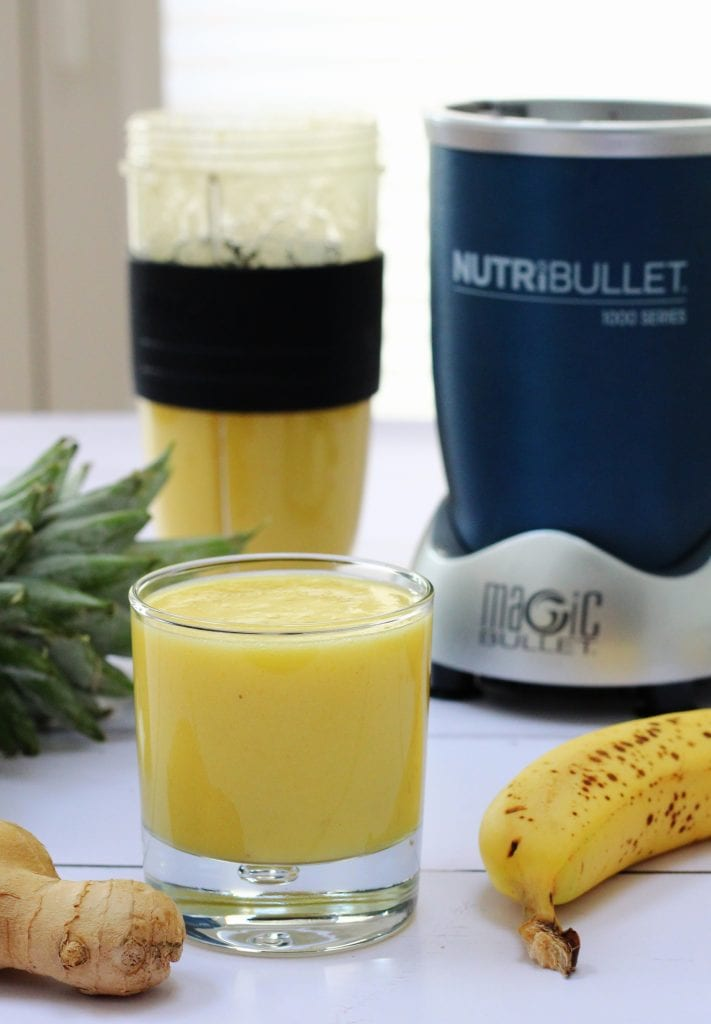 Tropical smoothie made with pineapple, banana, mango and ginger
