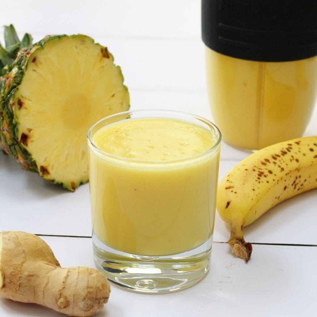Tropical ginger smoothie made with pineapple, banana, mango and ginger