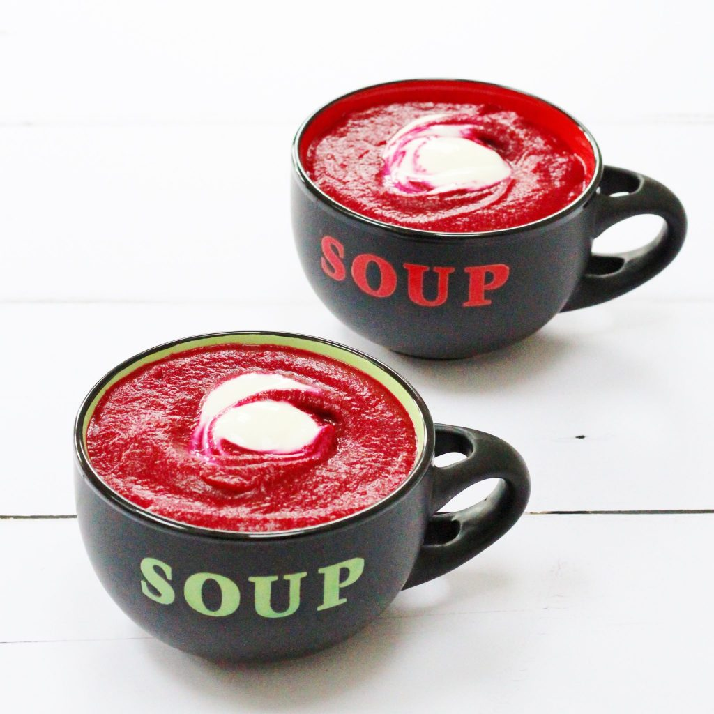 Roasted beetroot and garlic soup